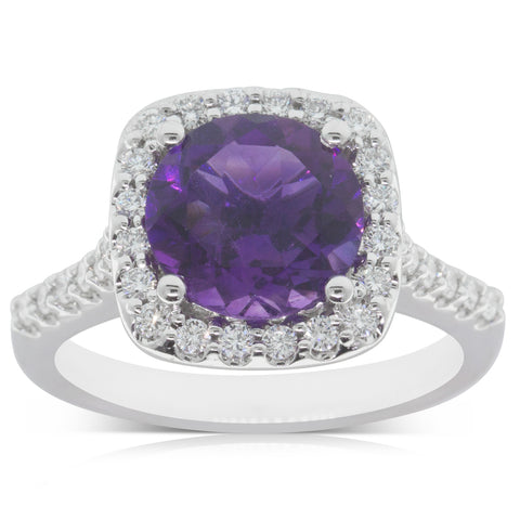 18ct White Gold 2.13ct Amethyst & Diamond Halo Ring - Walker & Hall