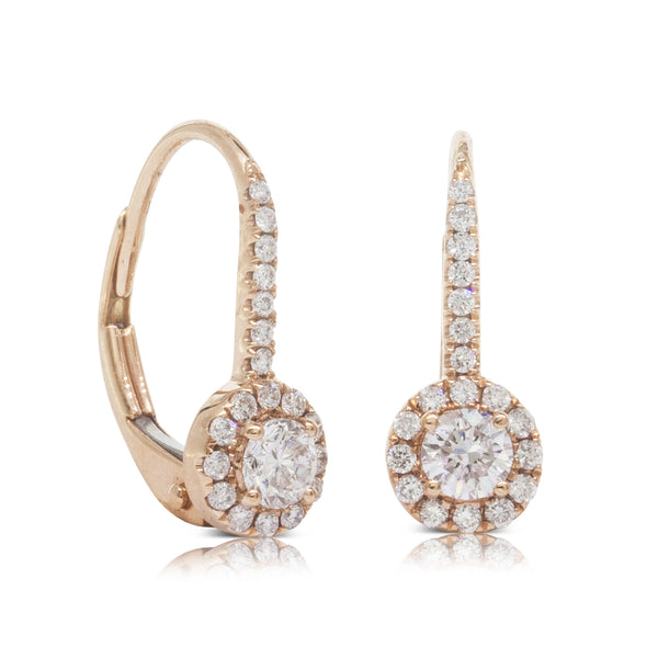 18ct Rose Gold .49ct Diamond Huggie Earrings - Walker & Hall