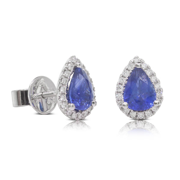 18ct White Gold 1.76ct Sapphire & Diamond Halo Earrings - Walker & Hall