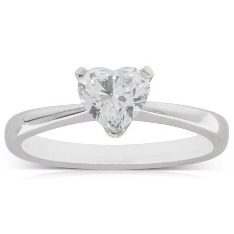 18ct White Gold 1.00ct Diamond Heart Solitaire Ring - Walker & Hall