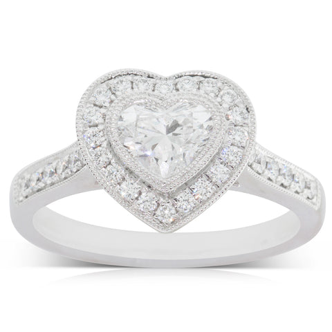 18ct White Gold .70ct Diamond Heart Halo Ring - Walker & Hall