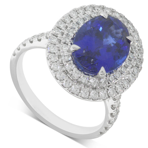 18ct White Gold 5.09ct Tanzanite & Diamond Halo Ring - Walker & Hall