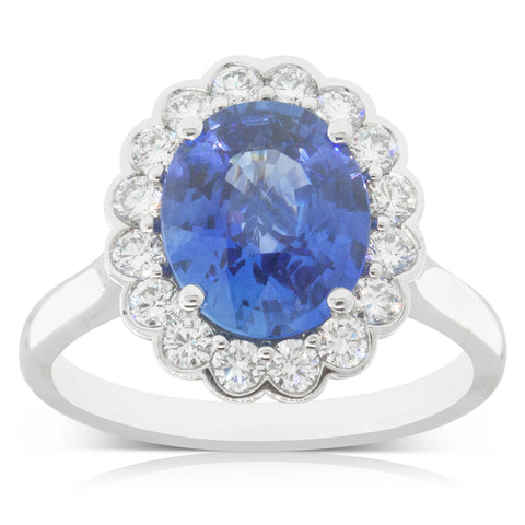 18ct White Gold 3.05ct Sapphire & Diamond Halo Ring - Walker & Hall