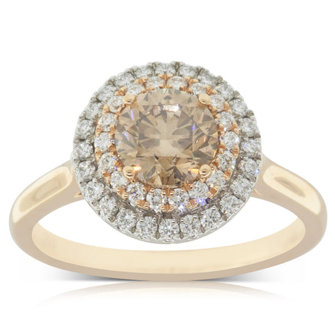 18ct White & Rose Gold 1.09ct Yellow Diamond Halo Ring - Walker & Hall