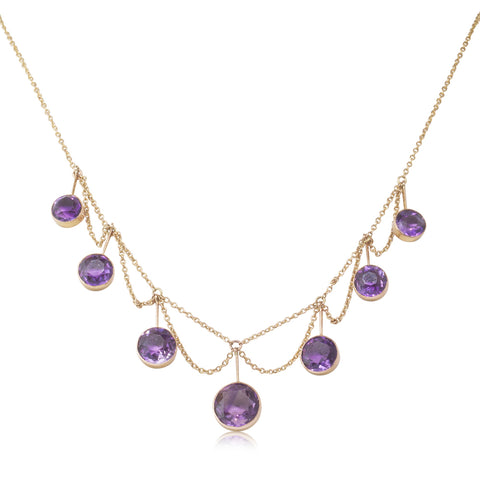 Vintage 9ct Yellow Gold 8.30ct Amethyst Necklace - Walker & Hall