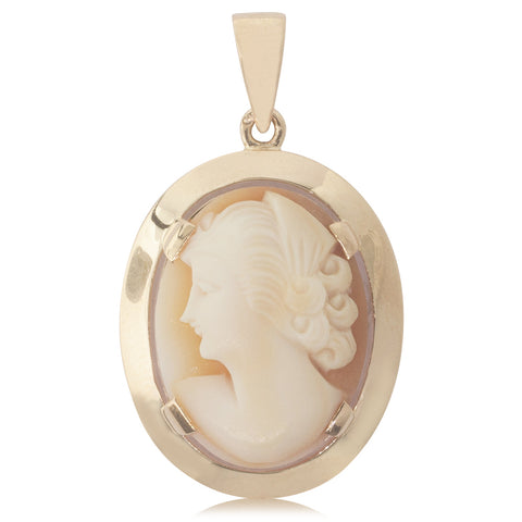Vintage 18ct Yellow Gold French Cameo Pendant - Walker & Hall