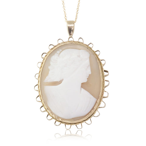 Vintage 9ct Yellow Gold Cameo Pendant - Walker & Hall