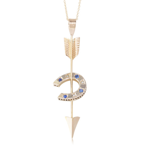 Vintage 9ct Yellow Gold Diamond & Sapphire Horseshoe Pendant - Walker & Hall