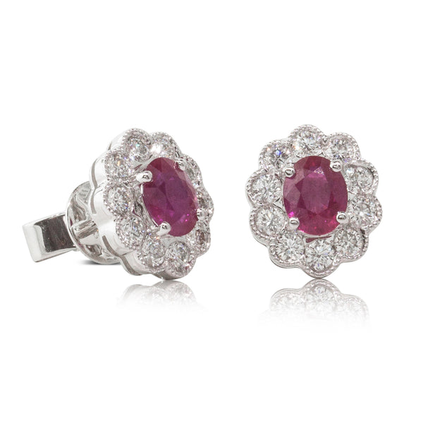 18ct White Gold .82ct Ruby & Diamond Halo Earrings - Walker & Hall