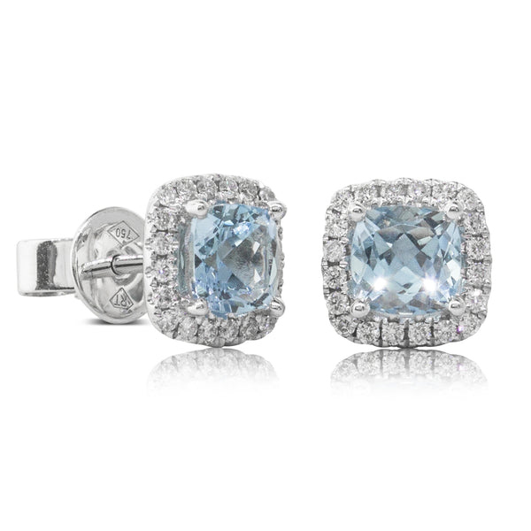 18ct White Gold 1.17ct Aquamarine & Diamond Halo Earrings - Walker & Hall