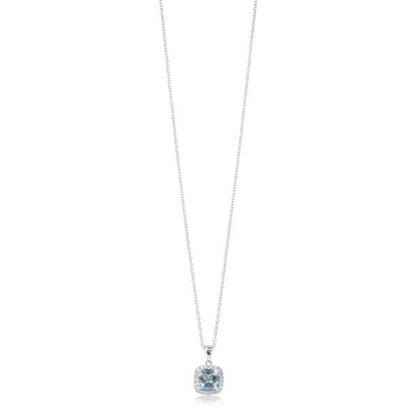 18ct White Gold 1.21ct Aquamarine & Diamond Halo Pendant - Walker & Hall