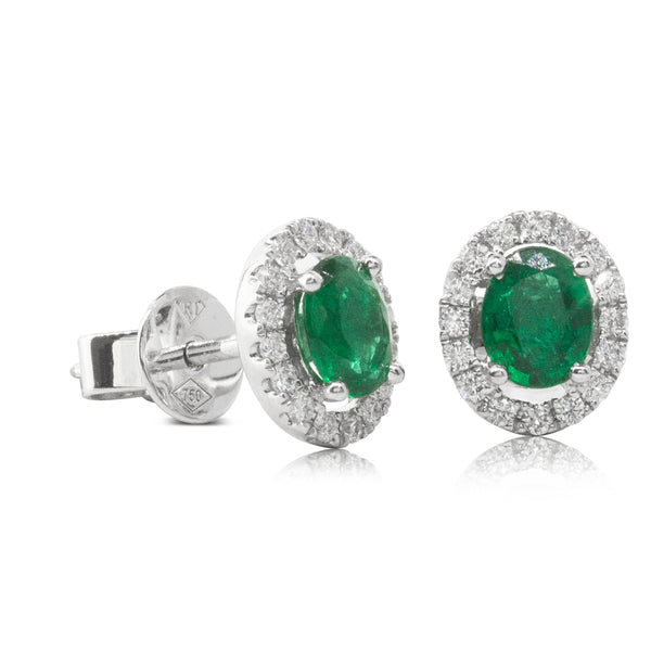 18ct White Gold .57ct Emerald & Diamond Halo Earrings - Walker & Hall