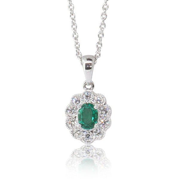 18ct White Gold .22ct Emerald & Diamond Halo Pendant - Walker & Hall