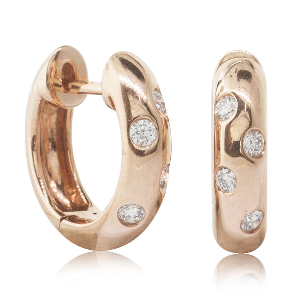 18ct Rose Gold .13ct Diamond Huggie Earrings - Walker & Hall