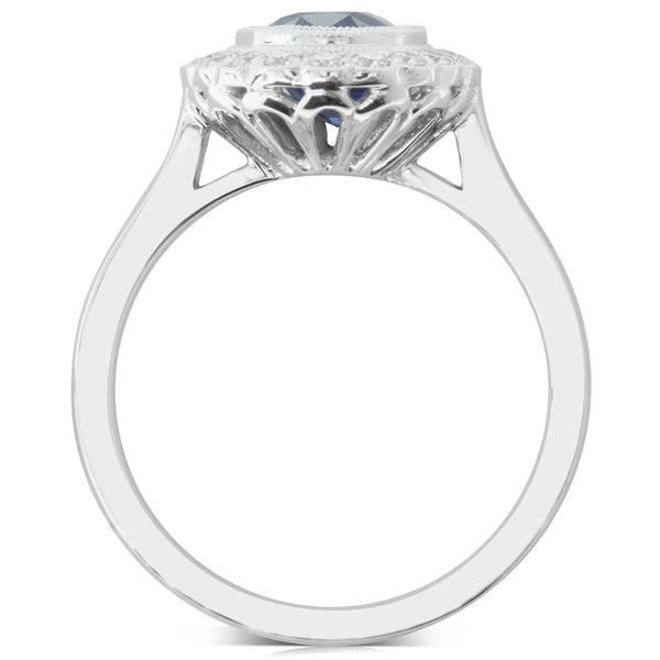 18ct White Gold 2.03ct Sapphire & Diamond Halo Ring - Walker & Hall