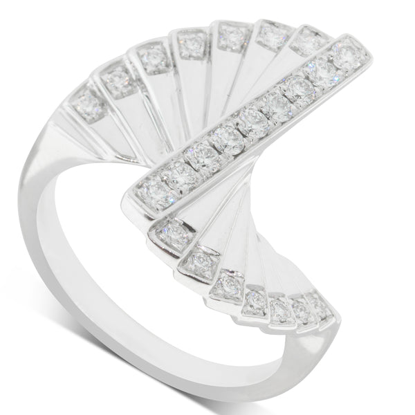 18ct White Gold .44ct Diamond Cluster Ring - Walker & Hall