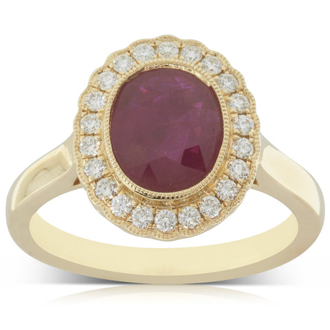 18ct Yellow Gold 1.71ct Ruby & Diamond Ring - Walker & Hall
