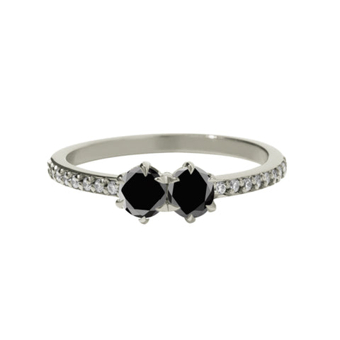 Meadowlark 9ct White Gold .50ct Luna Ring - Black Diamond - Walker & Hall