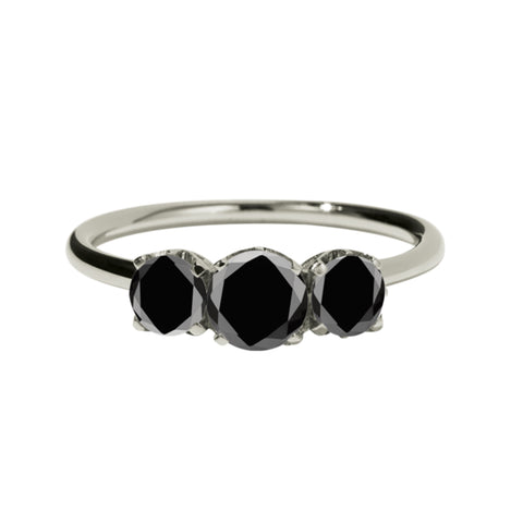 Meadowlark 9ct White Gold Signature 3 Stone Ring - Black Diamond - Walker & Hall