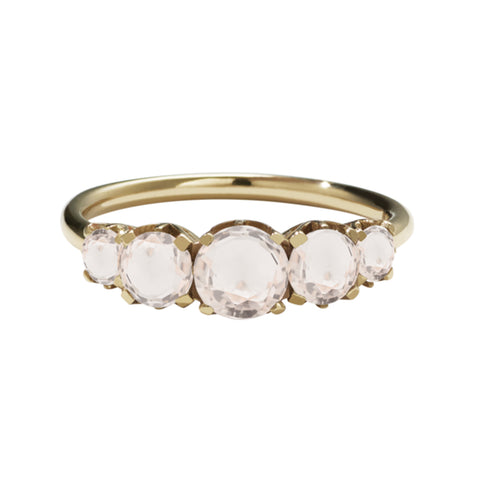 Meadowlark 9ct Yellow Gold Signature 5 Stone Ring - Morganite - Walker & Hall