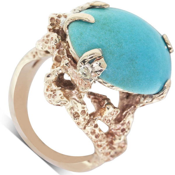 Vintage 14ct Yellow Gold Turquoise Dress Ring - Walker & Hall