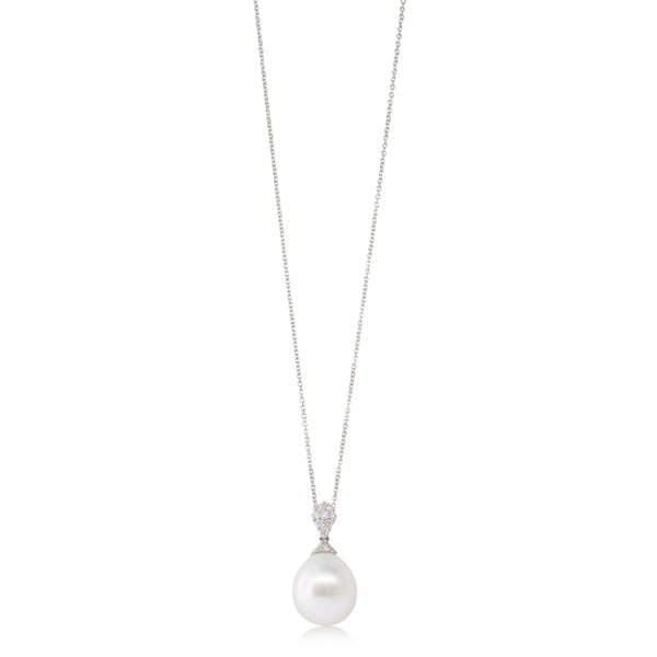 18ct White Gold 13.8mm South Sea Pearl & Diamond Pendant - Walker & Hall