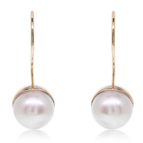 Deja Vu 9ct Yellow Gold pearl Hook Earrings - Walker & Hall