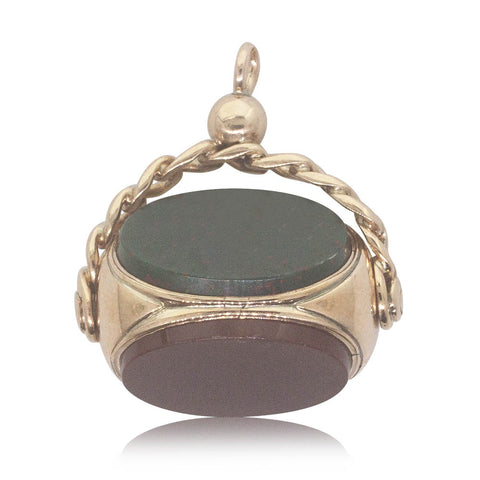 Vintage 9ct Yellow Gold Bloodstone Spinner Pendant - Walker & Hall