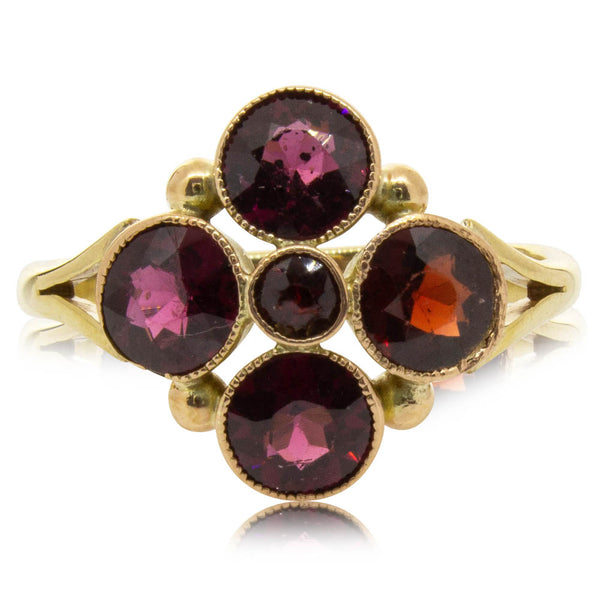 Vintage 9ct Yellow & Rose Gold Garnet Ring - Walker & Hall
