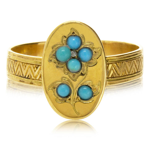 Vintage 18ct Yellow Gold Turquoise Ring - Walker & Hall