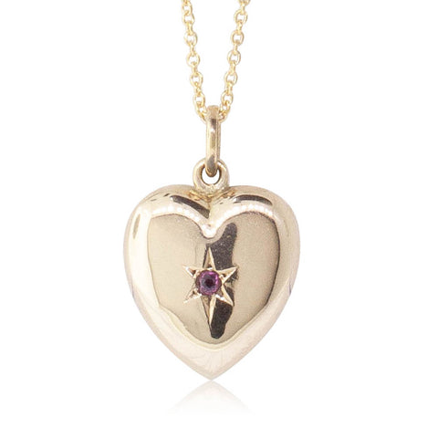 Vintage 9ct Yellow Gold Garnet Heart Pendant - Walker & Hall
