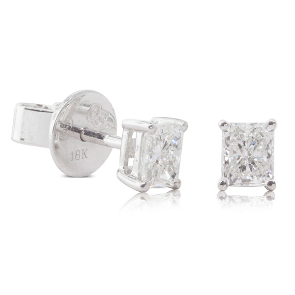 18ct White Gold .61ct Diamond Solitaire Earrings - Walker & Hall