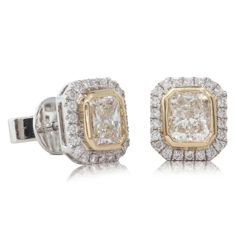 18ct White & Yellow Gold Diamond Halo Earrings - Walker & Hall