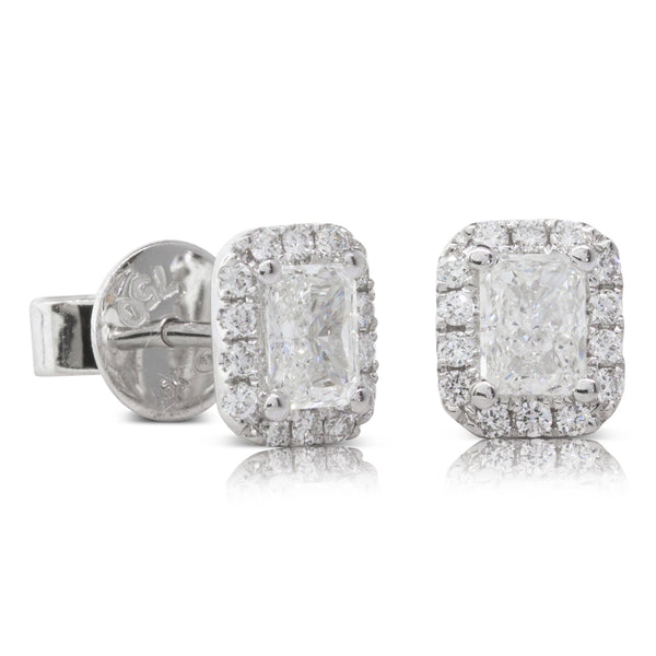 18ct White Gold .65ct Diamond Halo Earrings - Walker & Hall