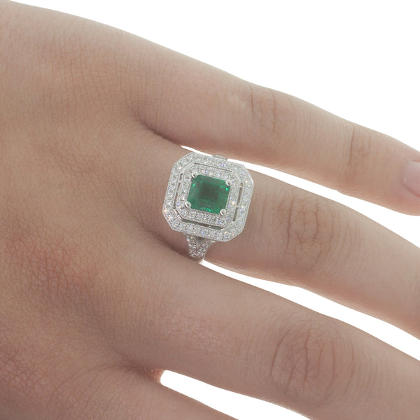 18ct White Gold 1.45ct Emerald & Diamond Ring - Walker & Hall