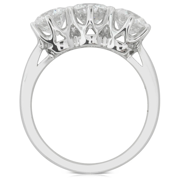 18ct White Gold 2.43ct Diamond Trilogy Ring - Walker & Hall
