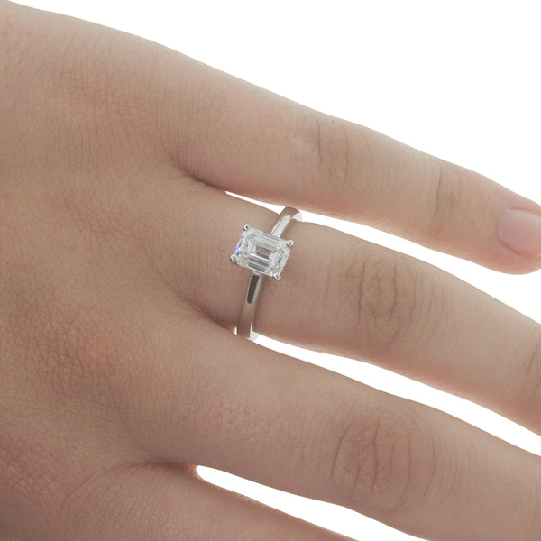 18ct White Gold 1.52ct Diamond Solitaire Ring - Walker & Hall
