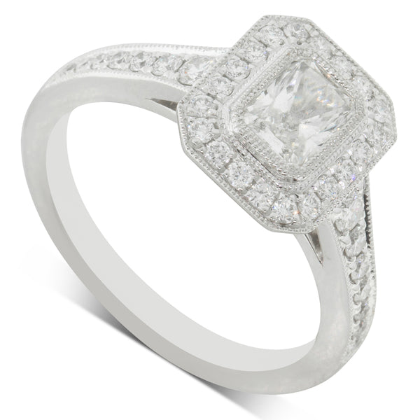 18ct White Gold .62ct Diamond Halo Ring - Walker & Hall