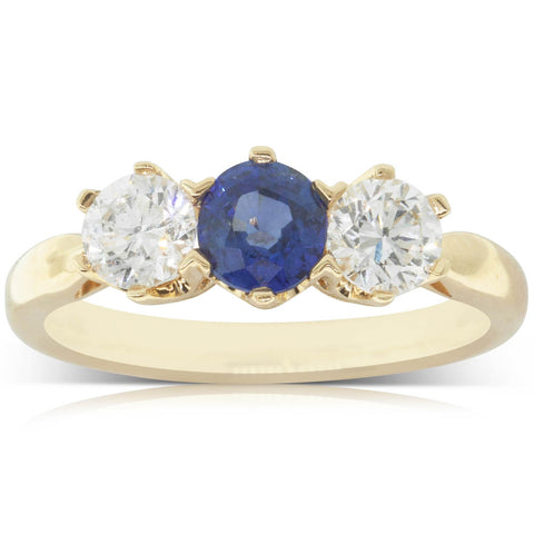 18ct Yellow Gold .78ct Sapphire & Diamond Ring - Walker & Hall