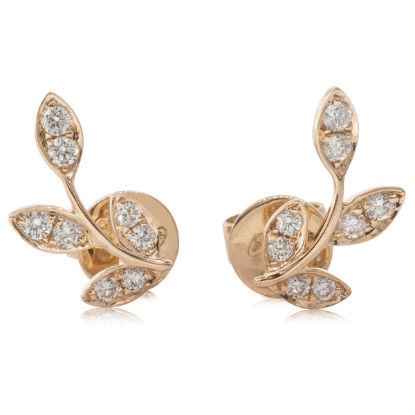18ct Rose Gold .24ct Diamond Laurel Earrings - Walker & Hall