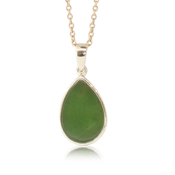 14ct Yellow Gold Greenstone Drop Pendant - Walker & Hall