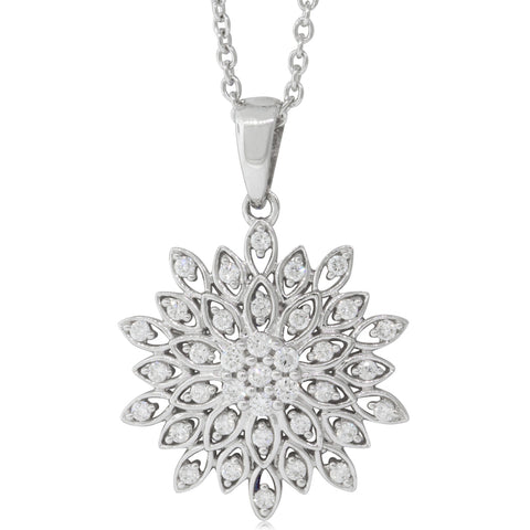 9ct White Gold .25ct Diamond Cluster Pendant - Walker & Hall