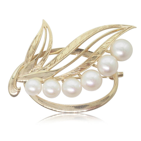 Vintage 14ct Yellow Gold Pearl Brooch - Walker & Hall