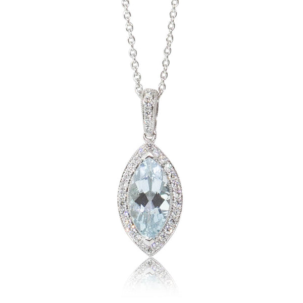 18ct White Gold 1.36ct Aquamarine & Diamond Halo Pendant - Walker & Hall