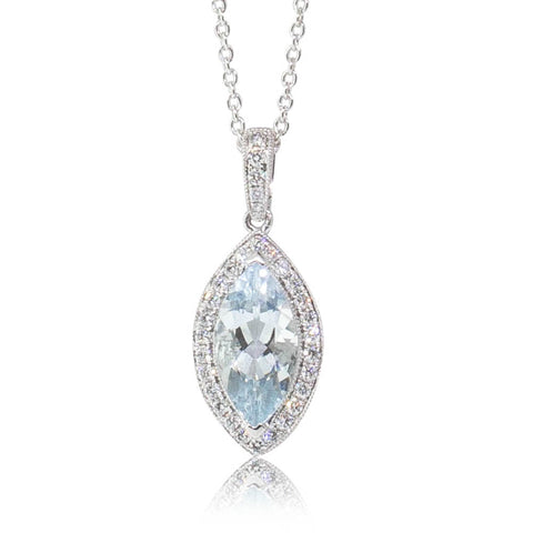 18ct White Gold 1.52ct Aquamarine & Diamond Halo Pendant - Walker & Hall