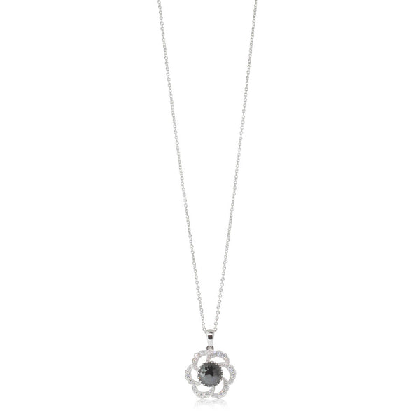 18ct White Gold 1.30ct Black Diamond Halo Pendant - Walker & Hall