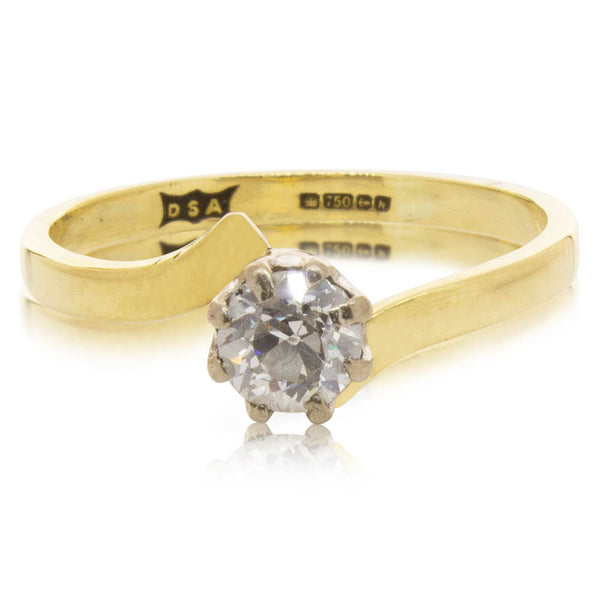 Deja Vu 18ct Yellow Gold .40ct Diamond Solitaire Ring - Walker & Hall