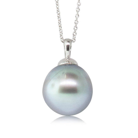 9ct White Gold 14mm Tahitian Pearl Pendant - Walker & Hall