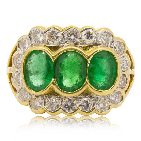 Deja Vu 18ct Yellow Gold 2.10ct Emerald & Diamond Ring - Walker & Hall