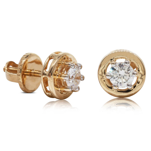 Deja Vu 18ct Yellow Gold .62ct Diamond Solitaire Studs - Walker & Hall